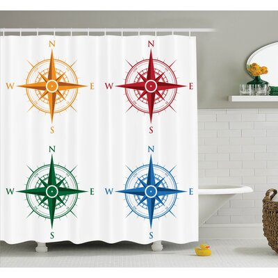 Hoffman Compass Colorful Shower Curtain Set Size: 84 H x 69 W
