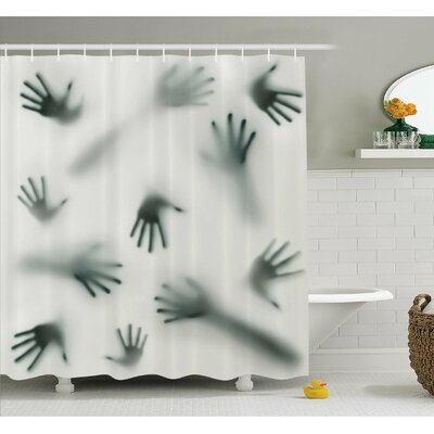 Horror House Frightening Hands Arms Ghost Shadow Alien Spirit Touch Mist Strangers Artwork Shower Curtain Set Size: 75