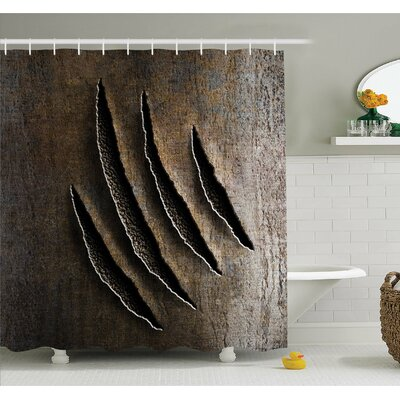 Horror House Wild Claws Scratch Damage on Rusty Metal Iron Background Sharp Beast Theme Shower Curtain Set Size: 75