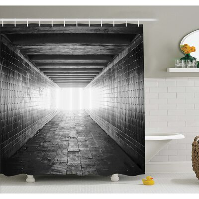 Horror House Picture of Light at the End of Tunnel Exit Fear City Abandoned Shower Curtain Set Size: 70 H x 69 W