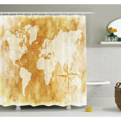 Old Fashioned World Map Shower Curtain Set Size: 70 H x 69 W