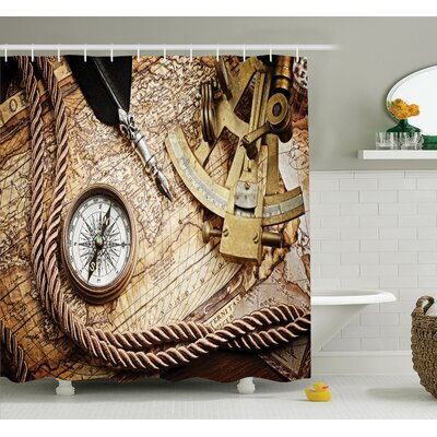 Voyage Theme Lifestyle Shower Curtain Set Size: 75 H x 69 W