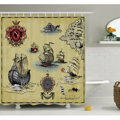 Antique Map Pirate Shower Curtain Set Size: 70 H x 69 W