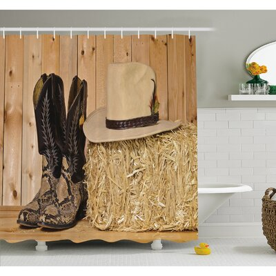 Western Snake Skin Cowboy Boots Timber Planks in Barn with Hay Old West Austin Texas Shower Curtain Set Size: 70 H x 69 W