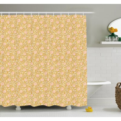 Romantic Rose Petals with Branches Nature Beauty Valentine Feminine Print Shower Curtain Set Size: 84 H x 69 W