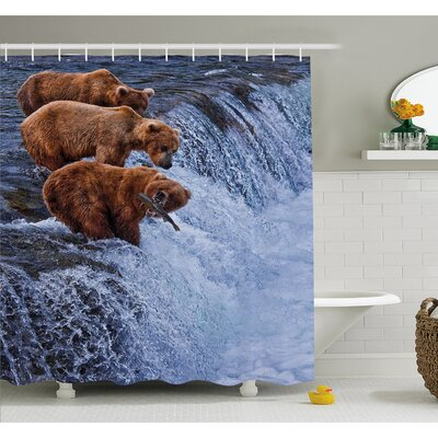 Wildlife Grizzly Bears Fishing in River Waterfalls Cascade Alaska Nature Camp View Shower Curtain Set Size: 70 H x 69 W