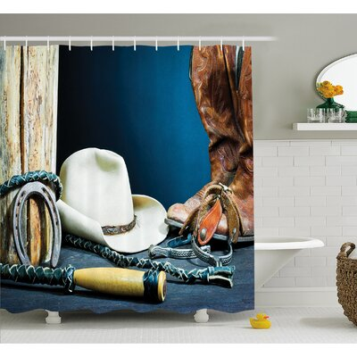 Western Equestrian Backdrop with Antique Horseshoe Hat Cowboy Texas Style Shower Curtain Set Size: 70 H x 69 W