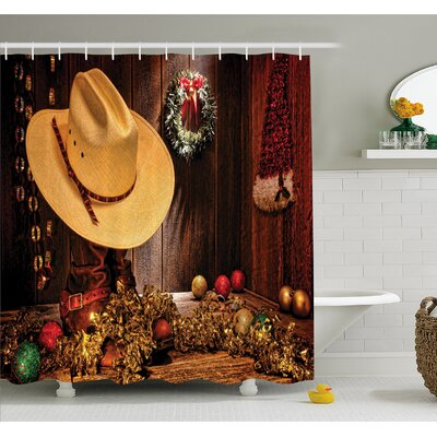 Western Farmhouse with Christmas Decorations with Wreath Americana Style Image Print Shower Curtain Set Size: 84 H x 69 W
