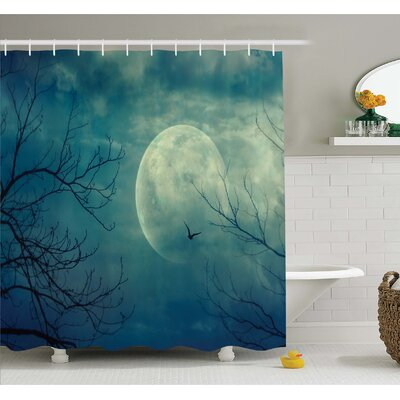 Horror House Halloween with Full Moon in Sky and Dead Tree Branches Evil Haunted Forest  Shower Curtain Set Size: 75 H x 69 W