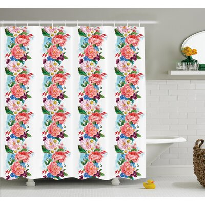 Flower Picturesque Bouquet with Mix Daisy Wild Flower and Honeysuckles Vintage Illustration Shower Curtain Set Size: 70 H x 69 W