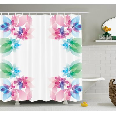 Flower Abstract Petals with Digital Hazy Reflections Bridal Buds Exquisite French Style Pattern Shower Curtain Set Size: 84 H x 69 W