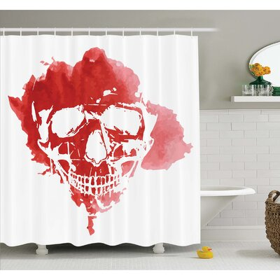 Horror House Skull Head in Watercolor Brush Stroke Gothic Skeleton Splash Voodoo Paint Shower Curtain Set Size: 84 H x 69 W