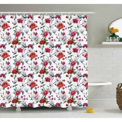 Flower Romantic Magnolia and Chrysanthemums Flowering Plants English Petals Design Shower Curtain Set Size: 75 H x 69 W