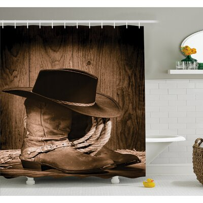 Western Wild West Themed Cowboy Hat and Old Ranching Rope On Wooden Display Rodeo Style Shower Curtain Set Size: 75 H x 69 W