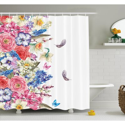 Flower Vintage Vivid Wreath with Daffodils Hyacinths Chamomile Lilies Butterfly Picture Shower Curtain Set Size: 84 H x 69 W