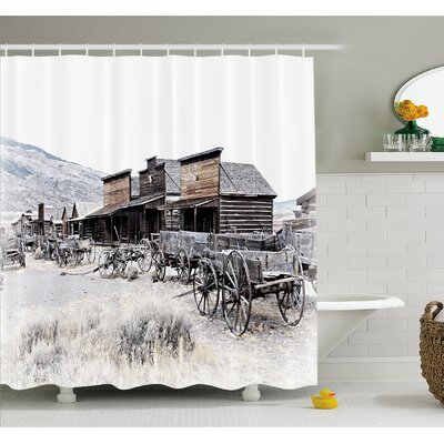 Western Old Wooden Wagons from 20s in Ghost Town Antique Wyoming Wheels Art Print Shower Curtain Set Size: 75 H x 69 W