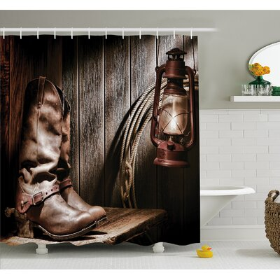 Western Dallas Cowboys and Lantern on a Bench in Vintage Ranch Nostalgic Folkloric Print Shower Curtain Set Size: 75 H x 69 W