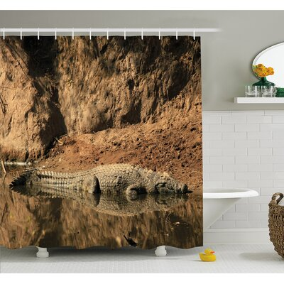 Wildlife Nile Crocodile Swimming in the River Rock Cliffs Tanzania Hunter Geography Shower Curtain Set Size: 75 H x 69 W