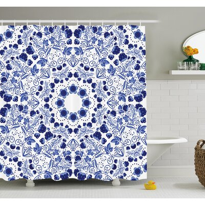 Flower Middle Eastern Swirl Petals with Ethnic Ottoman Folk Art Effects Boho Arabesque Design Shower Curtain Set Size: 70 H x 69 W