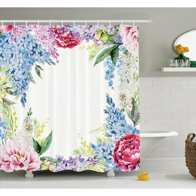 Flower Springtime Fragrance Garland with Bunch of Flowers Lilac Lavender Rose Peony Artsy Print Shower Curtain Set Size: 75 H x 69 W