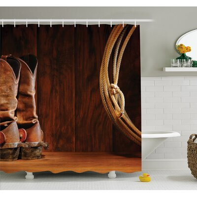 Western American Style Cowboy Wild West Culture Equestrian Sports Team Roping Barn Shower Curtain Set Size: 84 H x 69 W