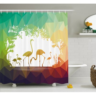 Wildlife Modern Flamingo Figures in Digital Art with Polygonal Featured Shadow Effects Shower Curtain Set Size: 84 H x 69 W