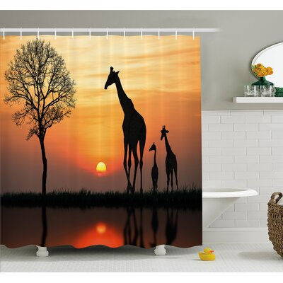 Wildlife Giraffes on Bushes by Lake Surface Horizon in the Middle of Nowhere Image Shower Curtain Set Size: 75 H x 69 W