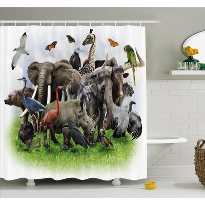 Wildlife Digital Collage with African Safari Zoo Artwork Shower Curtain Set Size: 70 H x 69 W
