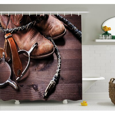 Western Authentic Old Leather Boots and Spurs Rustic Rodeo Equipment USA Style Art Picture Shower Curtain Set Size: 70 H x 69 W