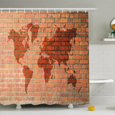 Rustic Home Brick Wall with World Atlas Map Reflection Contemporary Artful Scene Shower Curtain Set Size: 70 H x 69 W
