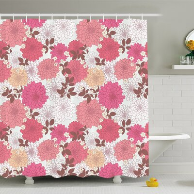 Dahlia Flower Mix of Blossoms Bouquet Romantic Retro Leaflets Shower Curtain Set Size: 75 H x 69 W