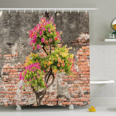 Rustic Home Fresh Little Tree with Flowers in front of Cracked Wall Hope Shower Curtain Set Size: 70 H x 69 W