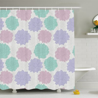 Dahlia Flower National Local Mexican Flower Ancient Aztec Culture Perennial Roots Plant Shower Curtain Set Size: 75