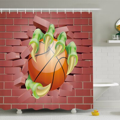 Rustic Home Claw Beast Monster Hand out Holds Basketball Ball through Brick Wall Paint Shower Curtain Set Size: 70 H x 69 W