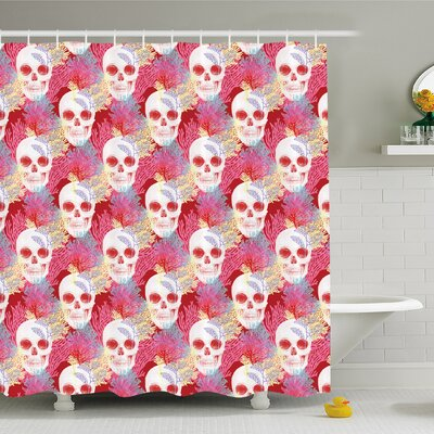 Mexican Skull Bones and Exotic Creepy Dead Icon with Plants Shower Curtain Set Size: 70 H x 69 W