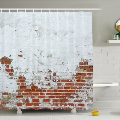 Rustic Home Dated Damaged Peeling Wall Covered with Paint Vintage Inspired City Scene Shower Curtain Set Size: 75 H x 69 W