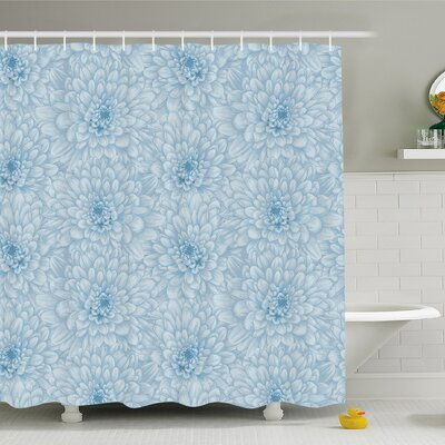 Retro Monochrome Pastel Water Cane Petals with Disc Florets Shower Curtain Set Size: 84 H x 69 W