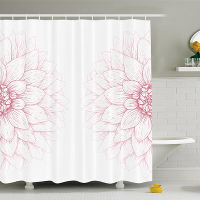 Dahlia Flower Bushy Sunflower Daisy Petals Image Shower Curtain Set Size: 70 H x 69 W