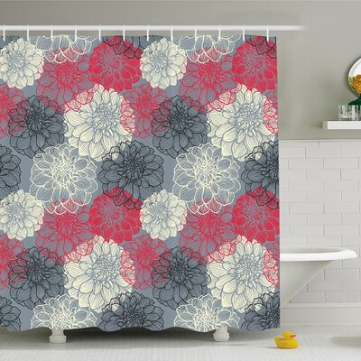 Dahlia Flower Motif with Color Element Effects Shower Curtain Set Size: 75 H x 69 W