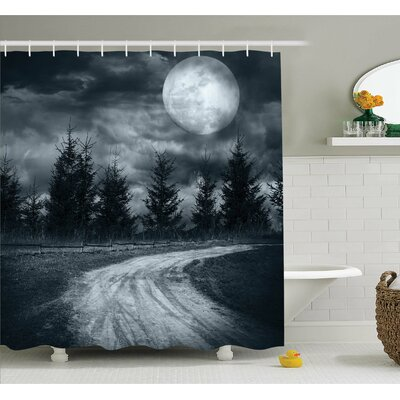 Horror House Moonrise Magic Landscape with Empty Rural Path to Pines Dramatic Vampire Way Shower Curtain Set Size: 75 H x 69 W