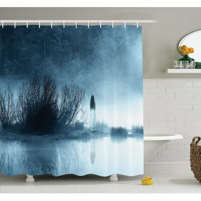 Horror House Mysterious in Foggy Forest Bushes Nightmare Haze Scary Artwork Shower Curtain Set Size: 70 H x 69 W