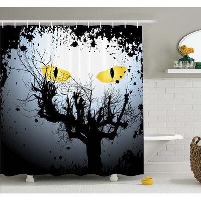 Horror House Scary Eyes Backgrounded Leafless Old Branch Angry Hunt Animal Creature Shower Curtain Set Size: 75 H x 69 W