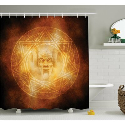Horror House Demon Trap Symbol Logo Ceremony Creepy Ritual Fantasy Paranormal Design Shower Curtain Set Size: 70 H x 69 W