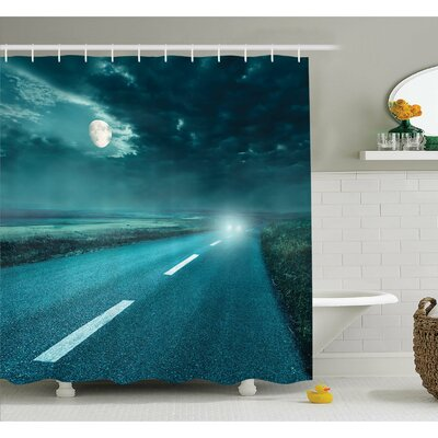 Horror House Highway Road to Hell under Storm Clouds Asphalt Twilight Terror Image Artwork Shower Curtain Set Size: 75 H x 69 W