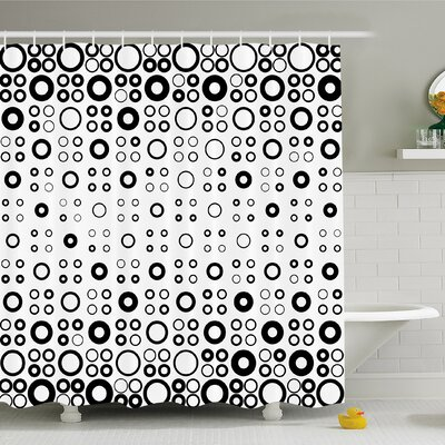 Geometric Circle Simple Vortex Disc Shaped Interior Ellipse Chord Lines Artwork Shower Curtain Set Size: 70 H x 69 W