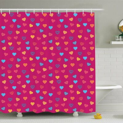 Cute Heart Figures Shower Curtain Set Size: 84 H x 69 W