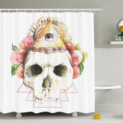 Skull Traditional Mexican Sugar with Sacred Eye Sign and Geometric Triangle Shower Curtain Set Size: 75 H x 69 W