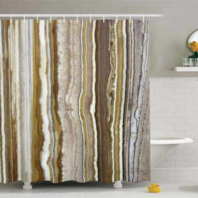 Onyx Marble Rock Themed Vertical Lines and Blurry Stripes in Earth Color Shower Curtain Set Size: 84 H x 69 W