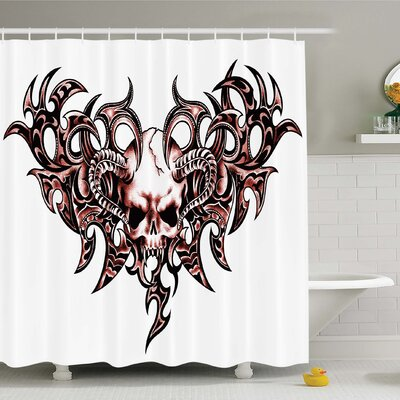 Tattoo Combined Hearts with Skull Eagle Wings Symbol of the Brave Love Shower Curtain Set Size: 75 H x 69 W