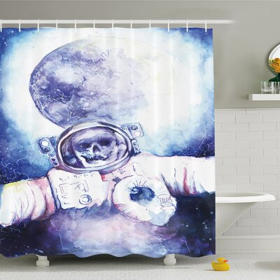 Skull Watercolor Cosmonaut on Outer Space Milky Way with Moon Earth Galaxy Shower Curtain Set Size: 84 H x 69 W